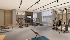 Perspectiva do fitness do empreendimento you offices ibitirama